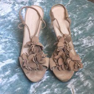 COLIN STUART beige suede slingback flower heels